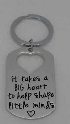 Teacher Appreciation Gift Key chain Big Heart to Teach Little Minds by BrunosBling on Etsy