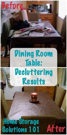 Before and after of decluttered dining room table {featured on Home Storage Solutions 101}