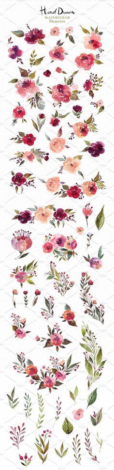 230 Watercolor graphic elements by MoleskoStudio on @creativemarket