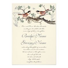 Chicadee Vintage Birds Wedding Invite....but Paris theme