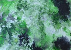 """Original Painting $7.99 - 5"""" x 7"""" canvas panel.  Green, white, gray and black abstract."""