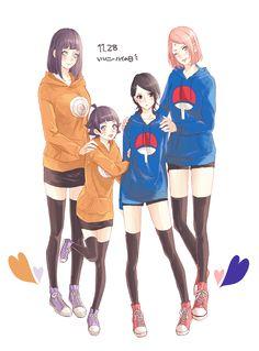 Pixiv Id 15385760, NARUTO, Uchiha Sarada, Hyuuga Hinata, Uzumaki Himawari, Haruno Sakura