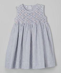 Charcoal Stripe Queen Smocked Dress - Infant #zulily #zulilyfinds