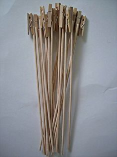 Skewer or dowel with a small clothespin glued on for card in a bouquet or centerpiece.