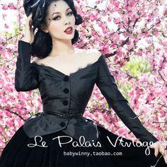 FREE SHIPPING Le limited edition vintage palais black elegant lace slit neckline slim waist silks and satins suit coat $34,11
