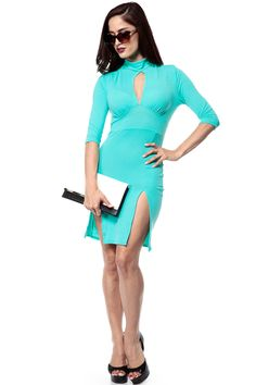 Intercontinental Apparel and Accessories: Double Slit Mint Body Con Dress.