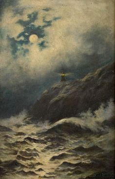 William Trost Richards  (1833 - 1905)    Longship's Lighthouse, Land's End, Cornwall  Oil on panel, 18 x 11-1/2 inches
