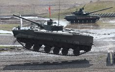 Russian infantry, infantry combat vehicles and a tank take part in a rehearsal for a military industrial exhibition 'Technologies in machine building' in the city of Zhukovsky, Moscow region, Russia.