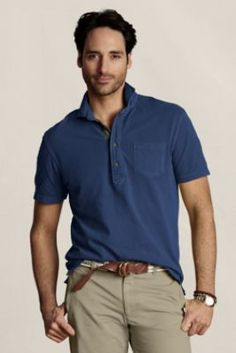 My favorite polos are from Lands' End and LEC; this one adds some cool details like plaid trim.  Men's Vintage Mesh Cut Away Collar Polo  from Lands' End Canvas #landsendcanvas