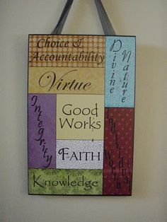 Martha Made Me Do It: YW Values board