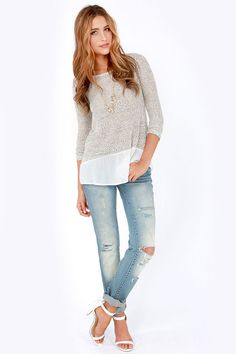 knit sweater with white ruffle