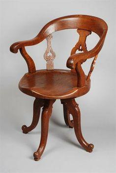 1880 Swivel Chair Culture: Dutch Medium: wood, metal Desk Chair, Swivel Chair, Dutch, 19th Century, Objects, Victorian, Culture, History, Medium