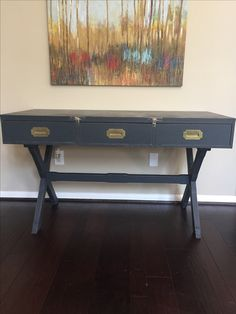 Vintage desk painted in Graphite ASCP.