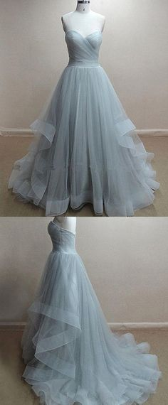 Chic Tulle Sweetheart Neckline Floor-length A-line Prom Dress