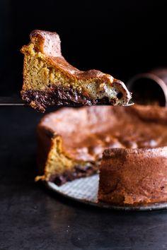Incredibly Gooey Collapsing Chocolate Bourbon Pecan Pie Custard Cake| halfbakedharvest.com @hbharvest