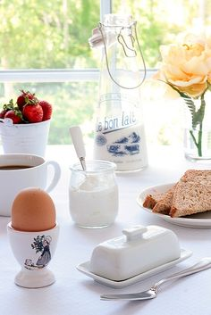 white ceramic Breakfast dishes with a retro milk bottle