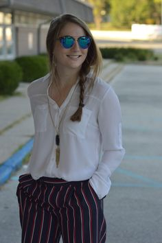 work outfit ideas   striped dress pants outfit ideas   a memory of us   what to pair with a white blouse   outfits for work with an express portofino blouse   kansas city fashion blog  