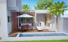 Sophisticated Two Storey House Design with Modern Look - House And Decors Residential Building Plan, Rooftop Design, Cool Swimming Pools, Two Storey House, Modern House Plans, Suites, Outdoor Areas, Pool Houses, Cozy House
