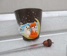 Купить Кружка Совушка и Лис из полимерной глины - коричневый, кружка, лиса, сова, совушка на кружке
