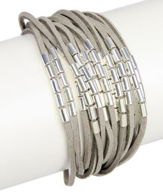 Look at this Gray & Silver Suede Bracelet on #zulily today!