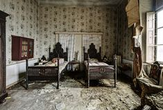 A deserted home....the children's bedroom (by Odin's Raven)    The twin's room by odin's_raven, via Flickr