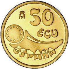 Moneda de oro 50 ECU Felipe II 1989.