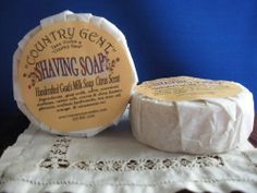 """""""Country Gent"""" Goats Milk Shaving Soap by """"Country Gent"""". $10.12. Very Gentle - Great for Sensitive Skin. Contains Tea Tree Oil and Shea Butter. Makes A Fine, Moisturizing Lather. Cinnamon-Orange Fragrance. Replacement Soap- Very gentle, goats milk soap for a fine lather. Moisturizing and good for sensitive skin.Cinnamon-Orange Fragrance. Contains Tea Tree Oil and Shea Butter. 2.75"""" diameter - Check out the """"Country Gent"""" Boar Bristle Shaving Brush too!. Save 20%!"""