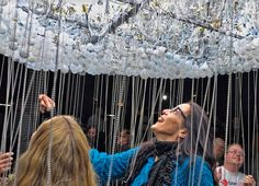 Interactive CLOUD Sculpture Made From 6,000 Light Bulbs by Caitlind Brown.