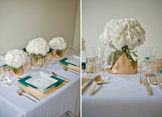 emerald green and gold reception | We filled glass gem vases with the gold triangle confetti which acted ...