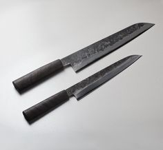 260mm San Mai Sujihiki & 210mm Utility custom chef knives hand forged by Bryan Raquin.