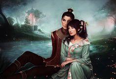 fantasy art couple | oriental love 3d cg abstract art asian art beautiful black blue ...