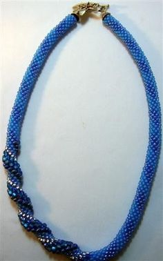Sometimes a simple pattern is more effective than a complicated one (JBG) Capri Blue Bead Crochet Necklace - 19-1/2""