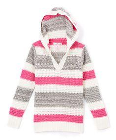 Look at this #zulilyfind! Pink Angel Fuchsia & Gray Metallic Stripe Hoodie - Toddler & Girls by Pink Angel #zulilyfinds