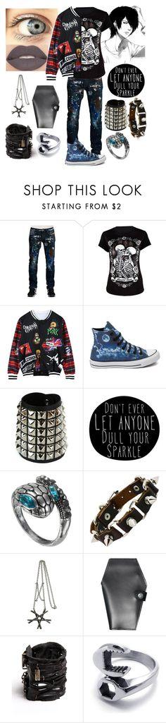 """Beta: Braden Rowan"" by nerissa-kirkland ❤ liked on Polyvore featuring Cult of Individuality, Smashbox, Chicnova Fashion, Converse, Evil Twin, Castro NYC, men's fashion, menswear, deathnote and Punk"