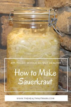 This is by far the easiest way to make Homemade Sauerkraut. Easy Step by Step instructions on how to make this fermented, gut healthy, probiotic rich sauerkraut. Perfect as a side or on hamburgers, brats etc... #sauerkraut #homemadesauerkraut #fermentedcabbage #fementedveggies #fermentation #fermenting #aip #aipside #paleo #paleoside #guthealthy #probiotic #leakygut #naturalremedies #thehealthnutmama Homemade Sauerkraut, Gluten Free Recipes, Healthy Recipes, Paleo Kids, Fermented Cabbage, Gluten Free Living, Thyroid Health, Leaky Gut, 100 Calories