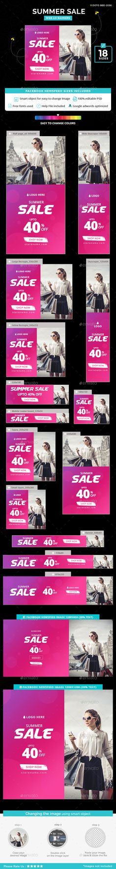 #Summer #Sale #Banner #template - #Banners & #Ads #Web #Elements #Design. Download here: https://graphicriver.net/item/summer-sale-banners/20045440?ref=yinkira