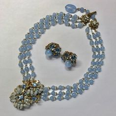 Vintage Miriam Haskell Signed Blue Glass Bead Rhinestone Necklace & Earring Set #MiriamHaskell #Choker