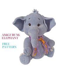 Cute Elephant, Free Crochet, Free Pattern, Dinosaur Stuffed Animal, Crochet Patterns, Teddy Bear, Animals, Amigurumi, Animales