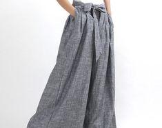 Candice Yeager on Etsy Maxi Pants, Baggy Pants, Pleated Pants, Palazzo Pants, Gray Pants, Casual Pants, Cropped Pants, Linen Pants Women, Wide Leg Linen Pants