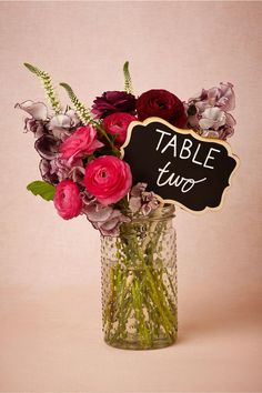 Blank Chalkboard Stake from BHLDN. Use in your wedding centerpieces as table numbers, and as garden markers later!