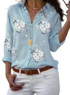 Women's Clothing Shirt 2019 Summer Floral Love Print Long Sleeve V-neck Shirts Female Top Blouses Chemisier White Blusas Blue. Trend Fashion, Fashion Week, Look Fashion, Womens Fashion, Fashion Online, Collar Shirts, Shirt Blouses, Tunic Blouse, Shirt Dress