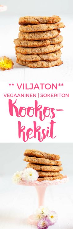 Viljattomat kookoskeksit | Gluteeniton leivonta | Sokeriton resepti Sugar Free Cookies, Cookies Vegan, Sugar Free Biscuits, Gluten Free Biscuits, Coconut Cookies, Sugar Free Desserts, Vegan Treats, Healthy Cookies, Coconut Flour