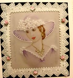 Lady in lilac painted on parchment. Hazel Lynn.