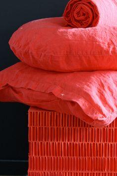 """linge de maison """"bedandphilosophy"""" - Sublime couleur pamplemousse rose pour cette parure ! j'aime."""