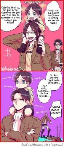 Zoe Hangi, Eren Jaeger, Erwin Smith and Rivaille (Levi) EREN'S FACE IT'S SO FULL OF FEAR.