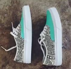 Mint green & black & white geometric print lace up sneakers