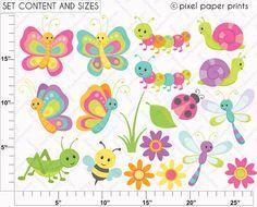 Cute bugs  Clip Art and Digital Paper Set by pixelpaperprints, $5.00