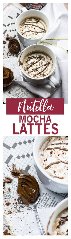 Homemade Nutella Mocha Lattes with almond milk and coconut whip!
