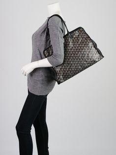 a9e0880b6239 Goyard Black Chevron Print Coated Canvas Hardy PM Tote Bag