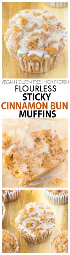 Healthy Flourless Sticky Cinnamon Bun Muffin recipe- Delicious, quick, easy and protein packed muffins, No butter, flour, oil or added sugars! vegan, gluten-free, high protein